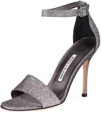 Manolo Blahnik Tres Glittered d'Orsay Sandals