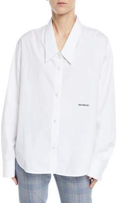 Calvin Klein Button-Front Long-Sleeve Boyfriend-Fit Poplin Shirt