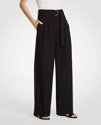 Ann Taylor Petite Belted Pleated Wide Leg Pants