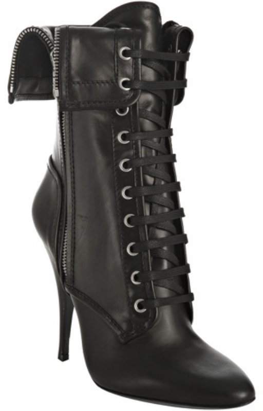 Balmain black leather lace-up folded boots