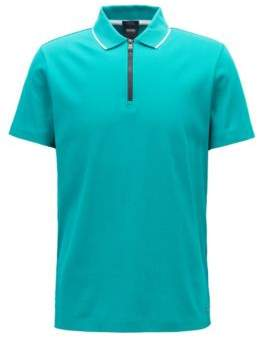 BOSS Hugo Mercerized cotton polo shirt contrast zip M Green