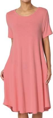 TheMogan Women's Short Sleeve Trapeze Knit Pocket T-Shirt Dress