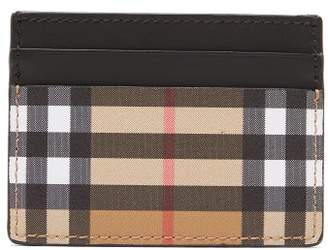 Burberry House Check Leather Cardholder - Mens - Tan Multi