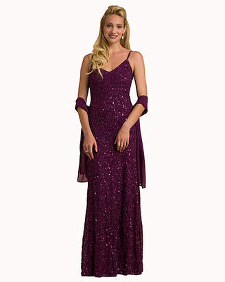 Le Château Beaded Knit V-Neck Gown & Scarf