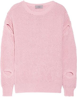 Cutout Waffle-knit Cotton-blend Sweater - Baby pink