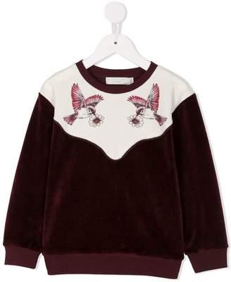 Stella McCartney hummingbird print panelled sweatshirt