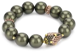 Miguel Ases Ocean Pearl and Gold Beaded Station Stretch Bracelet