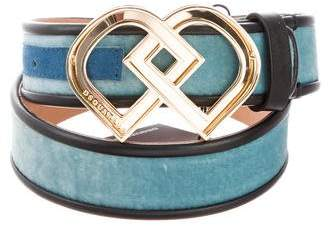 DSQUARED2 Velvet Leather-Trimmed Belt