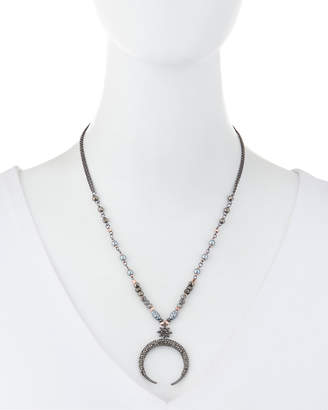 Nakamol Pearl & Crystal Moon Pendant Necklace
