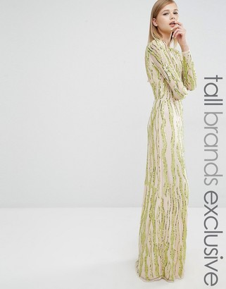 Maya Tall Long Sleeve All Over Sequin Patterned Maxi Dress $196 thestylecure.com