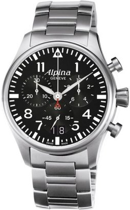 Alpina Startimerパイロット大きな日付クロノグラフメンズステンレススチールクォーツ腕時計al-372b4s6b
