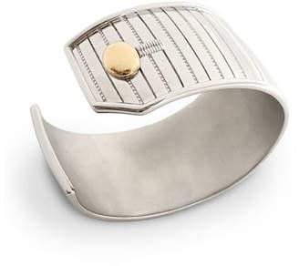 Monica Rich Kosann Sterling Silver Pinstripe Cuff Bracelet with 18k Yellow Gold Trim, Medium