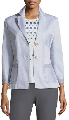 Piazza Sempione Two-Button Fitted Seersucker Blazer