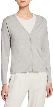 Eileen Fisher Zip-Front Silk/Cashmere Cardigan