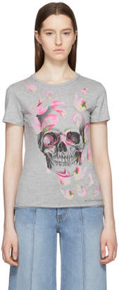 Alexander McQueen Grey Petal and Skull T-Shirt
