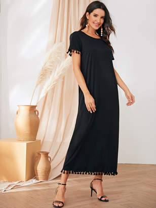 Shein Solid Tassel Trim Tunic Long Dress