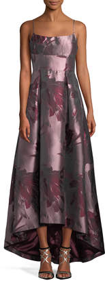 Black Halo Eve Adashi Sleeveless Floral-Brocade High-Low Gown