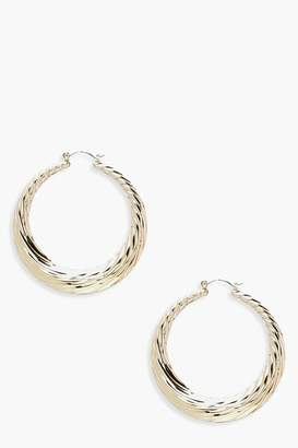 boohoo Chunky Ridged Hoop Earrings