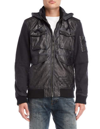 Desigual Hooded Faux Leather Bomber Jacket