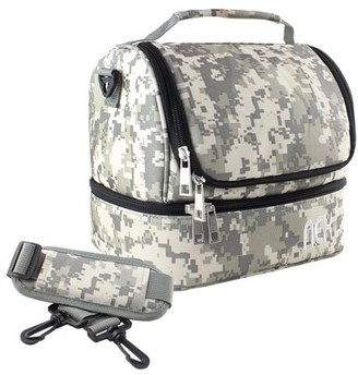 NEX Double Cooler Lunch Box- Insulated Tote with Large Capacity, Adjustable Shoulder Strap and Zipper Closure For Easy Access and Travel- Camo Color (NX-LUNCHBAG-3)