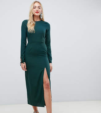 Vero Moda Tall midi dress with sleeve detail in green