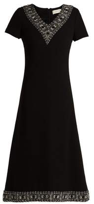 Goat Glam Faux Pearl And Crystal Wool Crepe Dress - Womens - Black