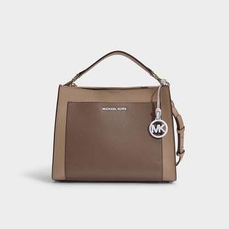 105085ab MICHAEL Michael Kors Annette Medium Pocket Satchel In Truffle Pebble Leather