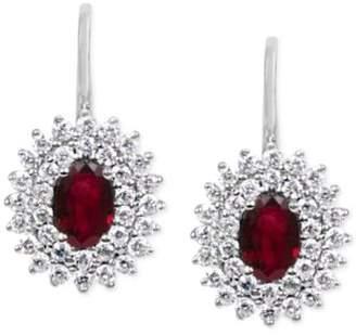Macy's Ruby (1-1/5 ct. t.w.) & Diamond (5/8 ct. t.w.) Drop Earrings in 14k White Gold