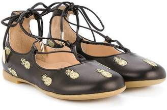 Aquazzura Mini fruit patch lace-up ballerina shoes