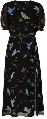 Altuzarra Gormann Bird Print Silk Chiffon Midi Dress - Womens - Black Print