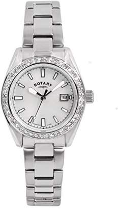 Rotary Women's Quartz Watch with Mother of Pearl Dial Analogue Display and Silver Stainless Steel Bracelet LB00355/41