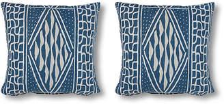 Set of 2 Knox 20x20 Pillows - Denim/White Linen - Miles Talbott