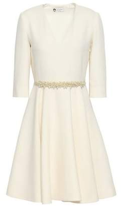 Lanvin Flared Faux Pearl-embellished Wool-crepe Dress
