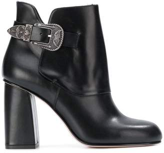 RED Valentino RED(V) side buckle embellished boots