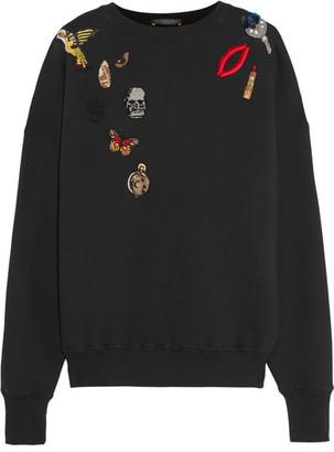 Alexander McQueen - Appliquéd Cotton-jersey Sweatshirt - Black $1,245 thestylecure.com