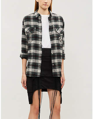 The Kooples Plaid fleur de lys cotton shirt