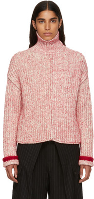 Chloé Red and Off-White Thick Turtleneck