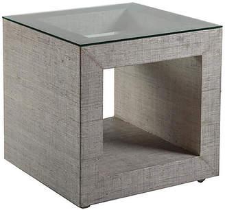 Artistica Precept Square Raffia Side Table - Light Gray