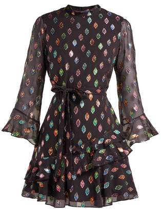 Saloni Marissa Metallic Silk Blend Dress - Womens - Black Multi