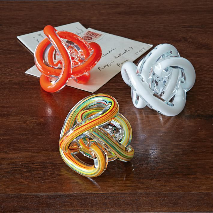 west elm Glass Knot Paperweights