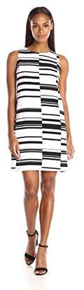 Vince Camuto Women's Short Sleeve Graphic Stagger Stripe Shift Dress