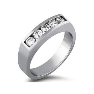 South Beach Diamonds 0.50 ct Men's Round Cut Diamond ive Stone Wedding Band in 14 kt White Gold In Size 8
