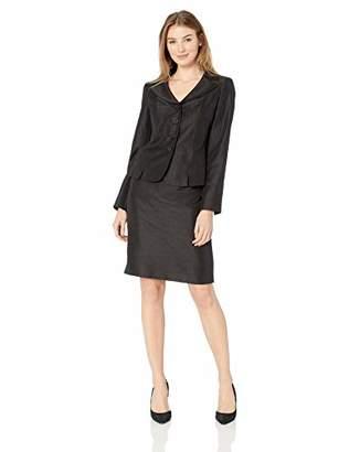Le Suit Women's 3 Button Notch Collar Shiny Novelty Skirt Suit
