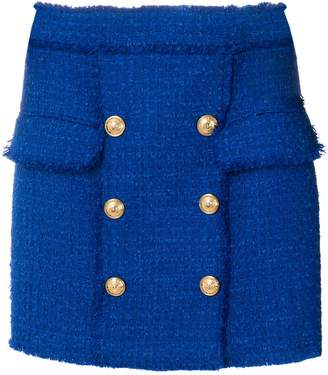 Balmain button-embellished tweed skirt
