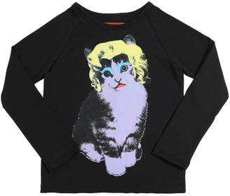 Muchacha Marilyn Cat Print Cotton Jersey T-Shirt