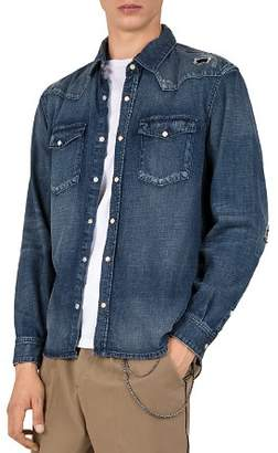The Kooples Destroy Regular Fit Button-Down Denim Shirt