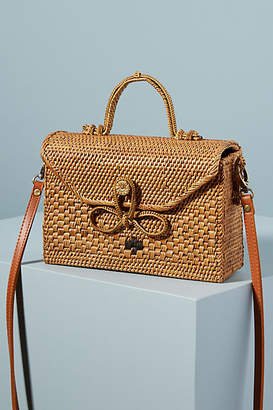 Anthropologie Bailey Rattan Crossbody Bag