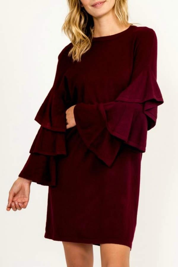 Tiered Sleeve Sweater Dress
