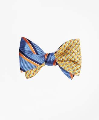 Brooks Brothers Exploded Herringbone Stripe with Windboard Print Reversible Bow Tie