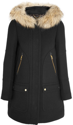 J.Crew - Chateau Faux Fur-trimmed Wool-blend Coat - Black $435 thestylecure.com